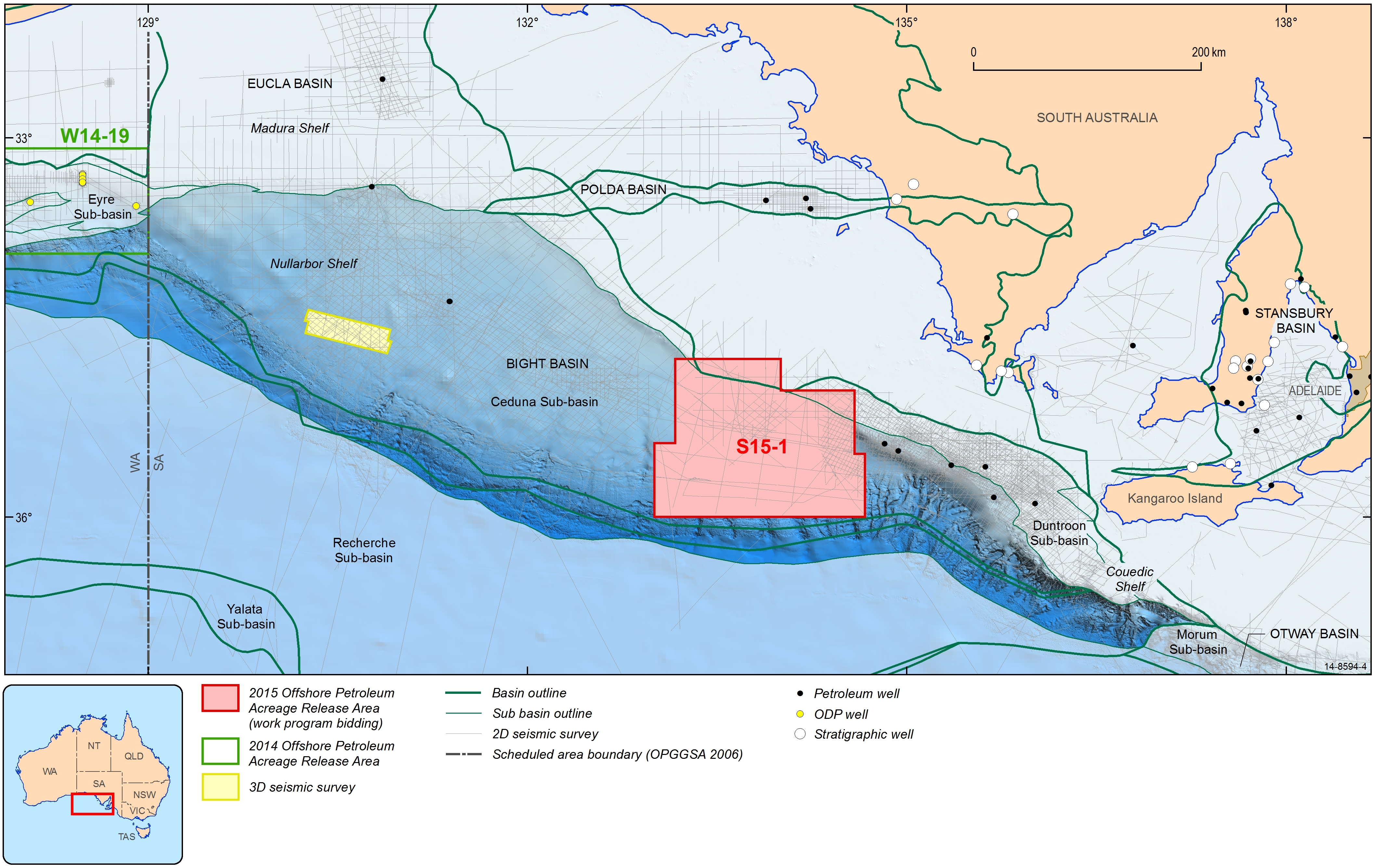 Fig 2. Pre-2011 seismic coverage and wells drilled in the Bight Basin